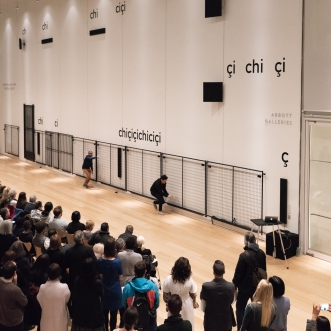 Cevdet Erek and Tolga Yenilmez perform chiçiçiçichiciçi (live) during opening of Cevdet Erek, chiçiçiçichiciçi February 28, 2019, Art Institute of Chicago. © Cevdet Erek