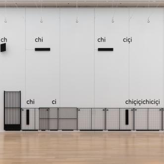 Installation view of Cevdet Erek, chiçiçiçichiciçi, 2019, Art Institute of Chicago. © Cevdet Erek